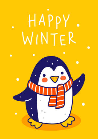 Cute little penguin wearing warm knitted scarf on yellow background - cartoon character for funny Christmas and New Year winter greeting card and poster design 矢量图像