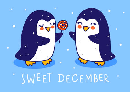 Cute little penguins with candy on blue background - cartoon characters for funny Christmas and New Year holidays greeting card and poster design 矢量图像