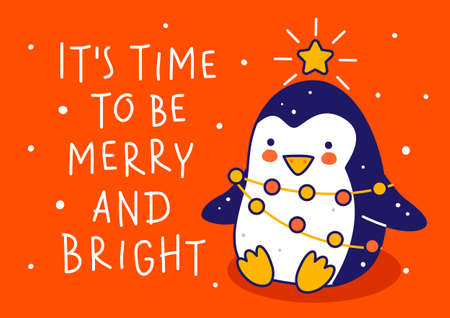 Cute little penguin wearing like Christmas tree on red background - cartoon character for funny winter holidays greeting card and poster design