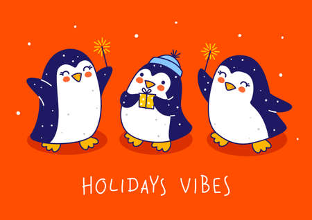Cute little penguins on red background - cartoon characters for funny Christmas and New Year holidays greeting card and poster design