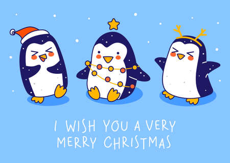 Cute little penguins on blue background - cartoon characters for funny Christmas and New Year holidays greeting card and poster design