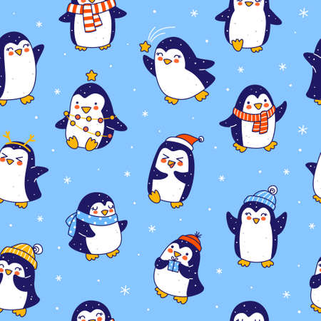 Seamless pattern with cute little penguins on blue - cartoon characters background for funny Christmas and New Year holidays textile and wrapping paper design 矢量图像