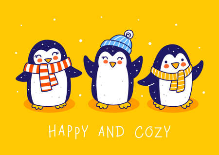 Cute little penguins on yellow background - cartoon characters for funny Christmas and New Year holidays greeting card and poster design