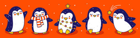 Cute little penguins border on red background - cartoon characters for funny Christmas and New Year holidays panoramic banner