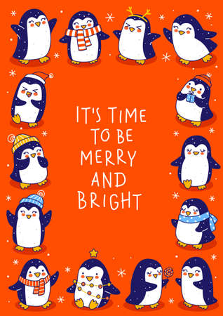 Cute little penguins on red background - cartoon characters vertical frame for funny Christmas and New Year holidays greeting card and poster design