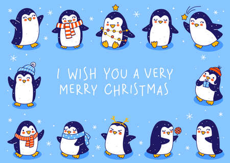 Cute little penguins on blue background - cartoon characters horizontal frame for funny Christmas and New Year holidays greeting card and poster design