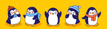 Cute little penguins border on yellow background - cartoon characters for funny Christmas and New Year holidays panoramic banner