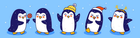 Cute little penguins border on blue background - cartoon characters for funny Christmas and New Year holidays panoramic banner 矢量图像