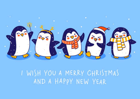 Cute little penguins on blue background - cartoon characters border for funny Christmas and New Year holidays greeting card and poster design