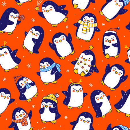 Seamless pattern with cute little penguins on red - cartoon characters background for funny Christmas and New Year holidays textile and wrapping paper design