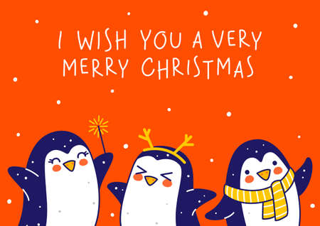 Cute little penguins on red background - cartoon characters border for funny Christmas and New Year holidays greeting card and poster design