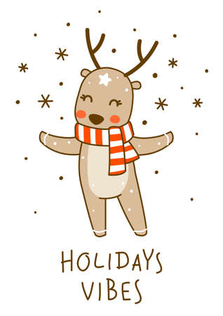 Cute little deer wearing red striped scarf isolated on white background - cartoon character for funny Christmas and New Year winter greeting card and poster design
