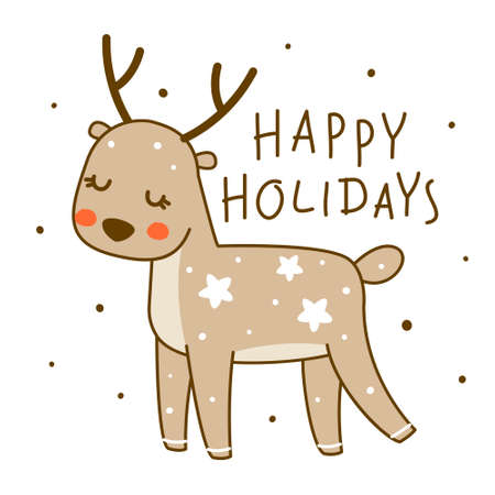Cute little deer isolated on white background - cartoon character for funny Christmas and New Year winter greeting card and poster design