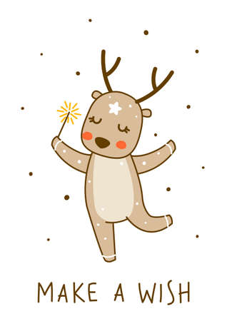 Cute little deer with sparkler isolated on white background - cartoon character for funny Christmas and New Year winter greeting card and poster design 矢量图像