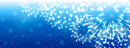 Shiny fireworks on blue background - horizontal panoramic banner for Christmas and New Year holiday design 矢量图像