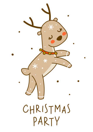 Cute little deer dancing isolated on white background - cartoon character for funny Christmas and New Year winter greeting card and poster design