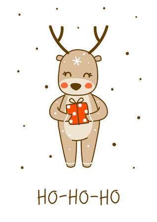 Cute little deer with gift box isolated on white background - cartoon character for funny Christmas and New Year winter greeting card and poster design