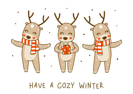 Сute little deers isolated on white background - cartoon characters for funny Christmas and New Year winter greeting card and poster design 矢量图像