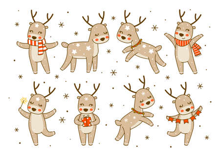 Set of cute little deers isolated on white background - cartoon characters for funny Christmas and New Year winter greeting card and poster design