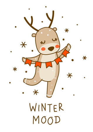 Cute little deer with party flags isolated on white background - cartoon character for funny Christmas and New Year winter greeting card and poster design 矢量图像