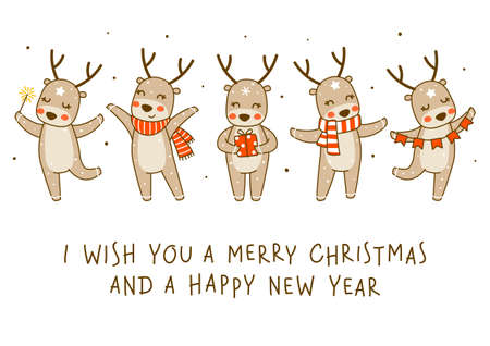 Cute little deers isolated on white background - cartoon characters border for funny Christmas and New Year winter greeting card and poster design