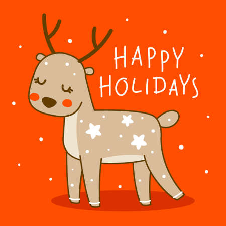 Cute little deer on red background - cartoon character for funny Christmas and New Year winter greeting card and poster design