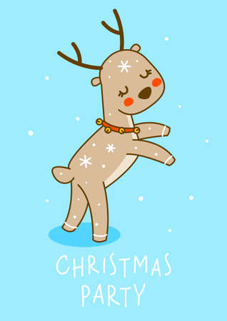 Cute little deer dancing on blue background - cartoon character for funny Christmas and New Year winter greeting card and poster design