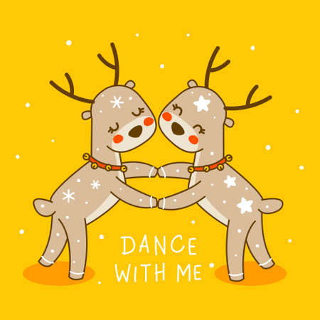 Cute little dancing deers on yellow background - cartoon characters for funny Christmas and New Year winter greeting card and poster design
