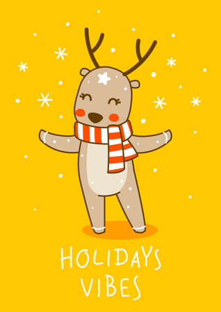 Cute little deer wearing red striped scarf on yellow background - cartoon character for funny Christmas and New Year winter greeting card and poster design
