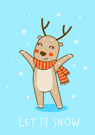 Cute little deer wearing red striped scarf on blue background - cartoon character for funny Christmas and New Year winter greeting card and poster design