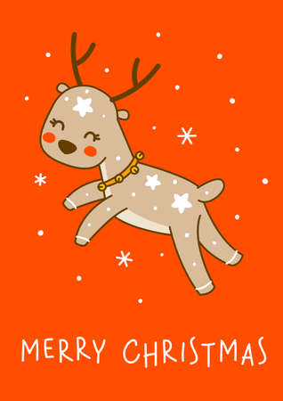 Cute little deer jumping on red background - cartoon character for funny Christmas and New Year winter greeting card and poster design