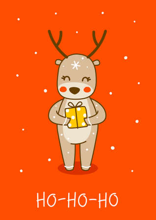 Cute little deer with gift box on red background - cartoon character for funny Christmas and New Year winter greeting card and poster design