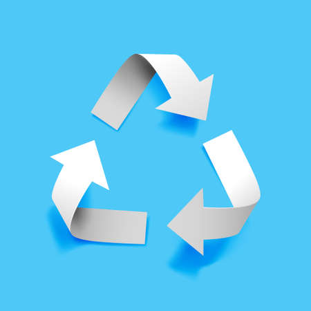 Vector paper recycling symbol on blue background for eco aware design
