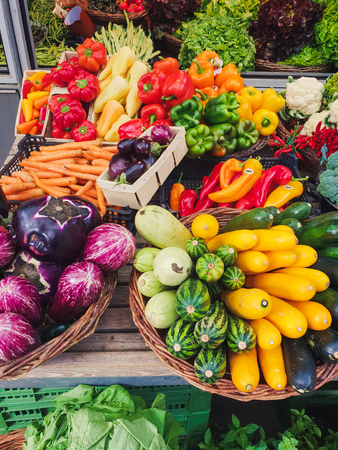 top down view on colorful vegetables on a market Standard-Bild