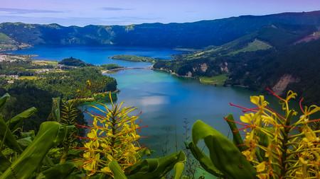 Sete Cidades am Azul-See auf der Insel Sao Miguel Azoren Standard-Bild