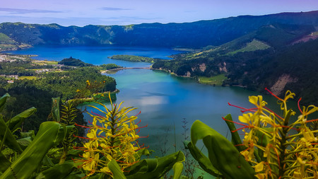 Sete Cidades at Lake Azul on the island Sao Miguel Azores Standard-Bild