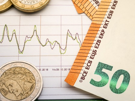Image of money investment strategy with coins and euro bills close up Stock Photo - 116265554