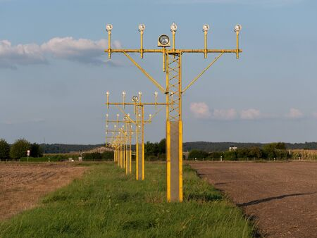 Image of yellow airport signal lights for airplanes Stock fotó