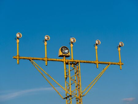 Close-up Image of airport signal lights for airplanes with blue sky