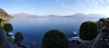 Panorama image of lake maggiore taken from the village of cannero riviera during sunset