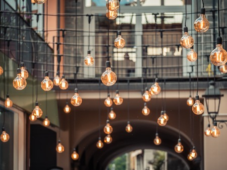 Image of beautiful retro luxury light lamps decor glowing