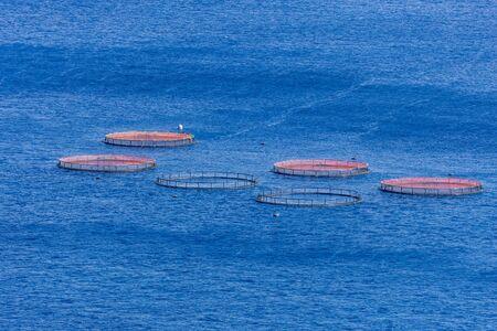 Image of aquaculture fish farm in the atlantic sea