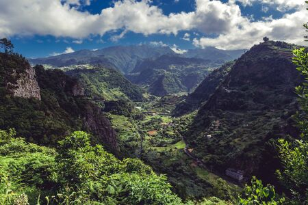 Panorama view on epic Madeira island rainforest, viewpoint from Santana Banque d'images - 129368695