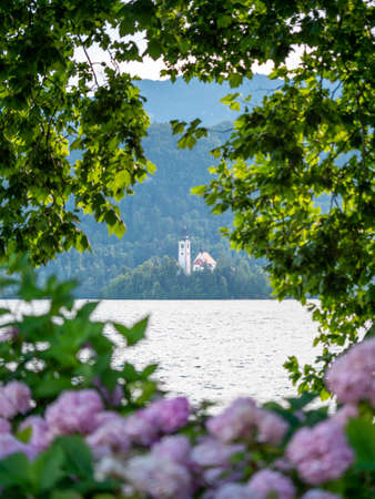 Lake Bled Slovenia. Beautiful mountain lake with small Pilgrimage Church. Most famous Slovenian lake and island Bled with Bled Castle in background