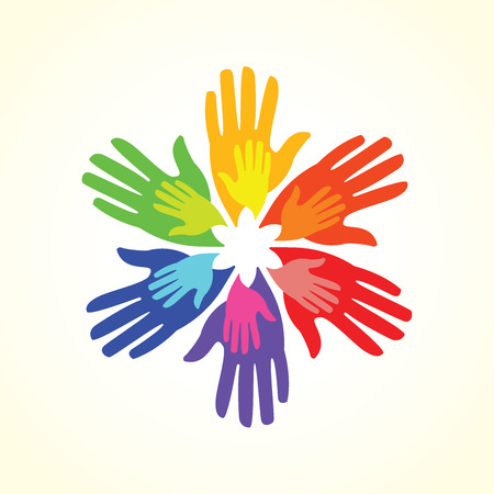 Colorful helping hands flower design element Ilustrace