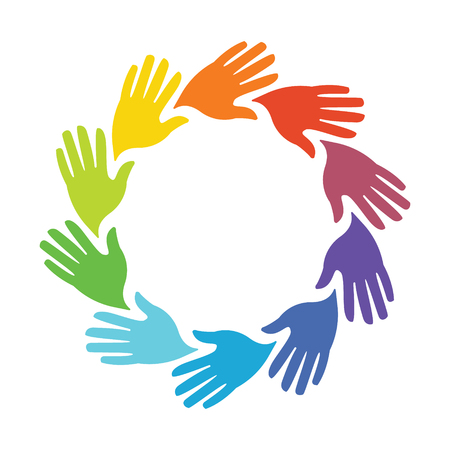Circle of Colored Hands