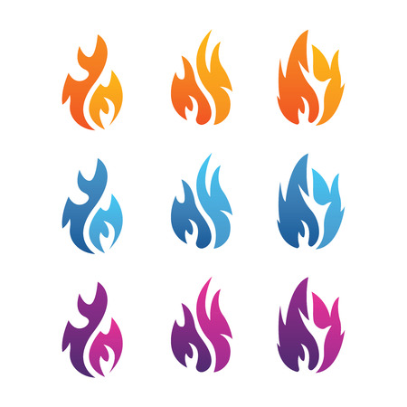 Collection of fire icons with different colors Illustration