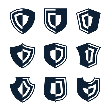Set of shield silhouette for design Illustration