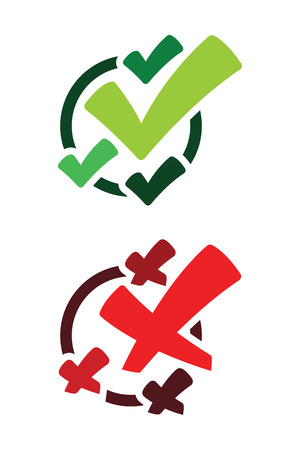 Green true and red false check marks icons illustration