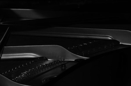 malleus: Black-and-white images of parts of the piano inside. Horizontal photo. Anyone Stock Photo